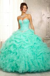 dress,quinceanera dress,sweet 16 dresses,prom dress,ball gown dress,organza dress,organza,light blue,big,quincè,ment,quinceañera,party,sixteen,mint dress,15,teal,silver,poofy dress,sweet16
