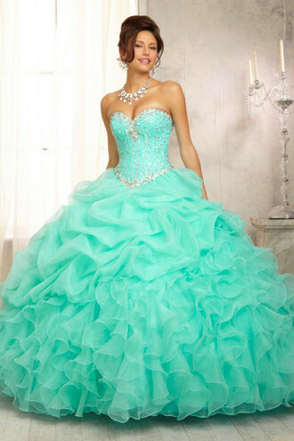 dress quinceanera dress sweet 16 dresses prom dress ball gown dress organza dress organza light blue big quincè ment quinceañera party sixteen mint dress teal silver poofy dress sweet16