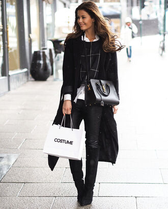 coat black coat checkered shirt leather pants knee high boots blogger black bag