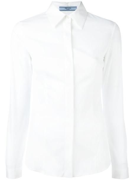 Prada shirt women classic spandex white cotton top