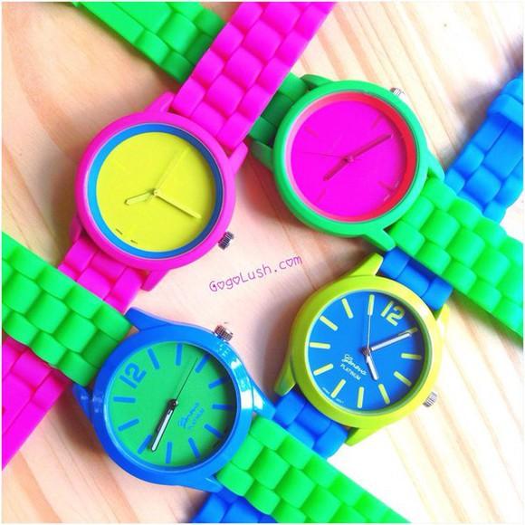 blue green yellow jewels cute watch silicone neon purple gogolush bright colorful fun