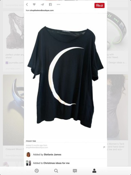 t-shirt moon tee shirt black grey
