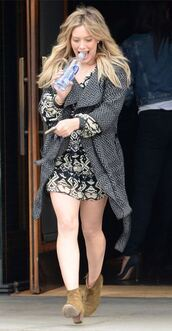 dress,coat,ankle boots,hilary duff,fall outfits,shoes