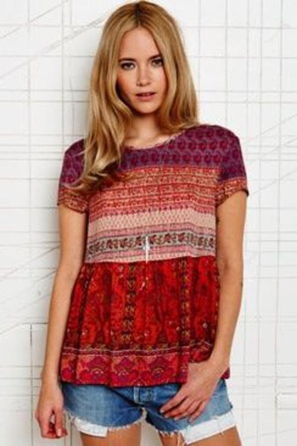 short sleeve boho shirt hippie shirt design