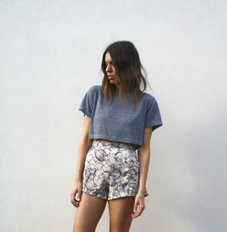 t-shirt shorts blue and white shorts high waisted shorts summer high waisted marble graphic tee quote on it women gorgeous fashionista chill rad casual crop tops navy boxy top boxy crop top top summer outfits cute style stylish trendy boyish edgy tumblr girl cool blogger instagram streetstyle streetwear clothes white on point clothing shirt french girl style pattern