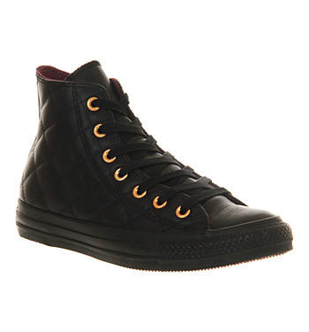 Converse All Star Hi Leather Quilted Black Mono - Unisex Sports