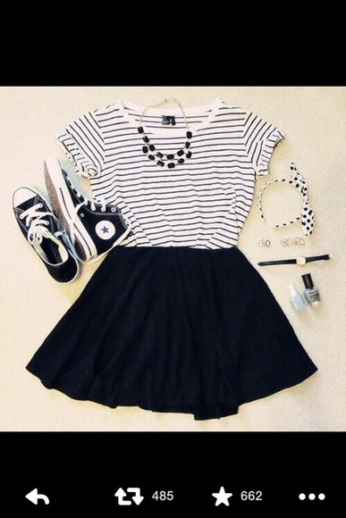 skirt black skirt clothes stripped shirt necklace shoes converse skater skirt
