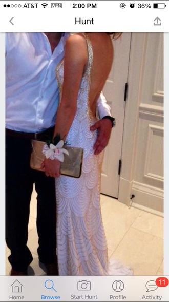 dress white gold white dress gold dress white and gold white and gold dress prom gown open back fashion circles long dress long prom dress gold circles prom dresses 2015 prom dress open back prom dress fancy dress pretty dress