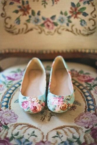 shoes mint green shoes floral shoes flats shoes flats ballet flats