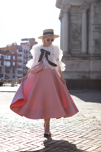 blouse hat tumblr lace top white lace top ruffle skirt midi skirt pink skirt flats sun hat