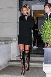 boots,gigi hadid,fashion,model,over the knee boots,over the knee,new york city,fashion week 2015,fashion week,black dress,dress,model off-duty