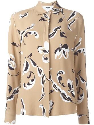 shirt women floral nude print top