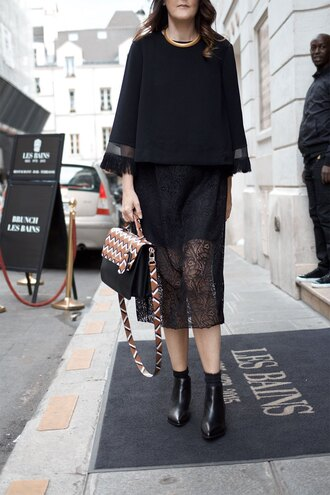top tumblr black top bell sleeves dress black dress lace dress black lace dress bag printed bag boots black boots ankle boots all black everything