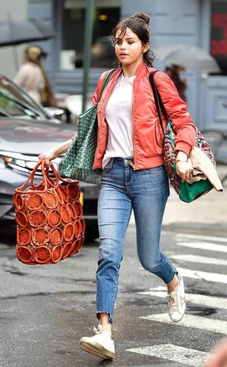 jacket bomber jacket jeans selena gomez top streetstyle fall outfits