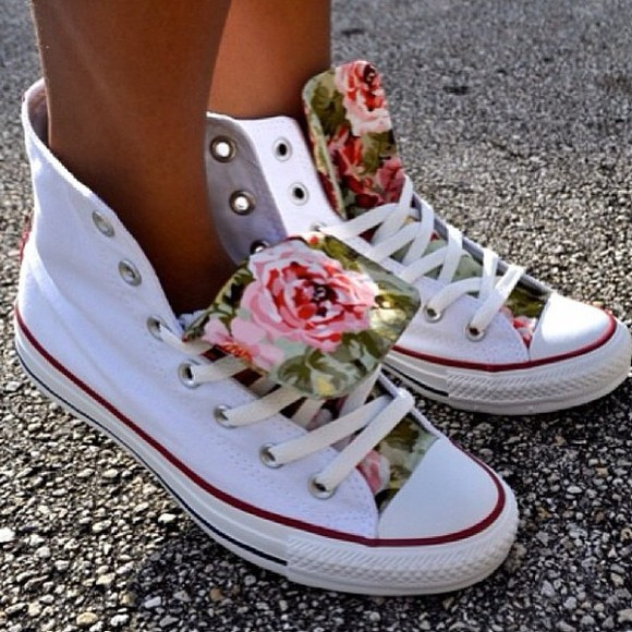shoes white shoes floral high top sneaker
