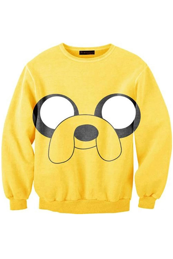 Yellow Cartoon Monster Sweatshirt - OASAP.com