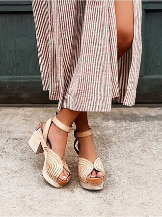 shoes slit skirt slit maxi skirt slit maxi skirt stripes striped skirt thick heel summer sandals summer shoes nude shoes