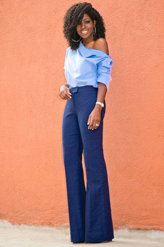 blogger shirt pants shoes off the shoulder black girls killin it high waisted pants blue pants wide-leg pants