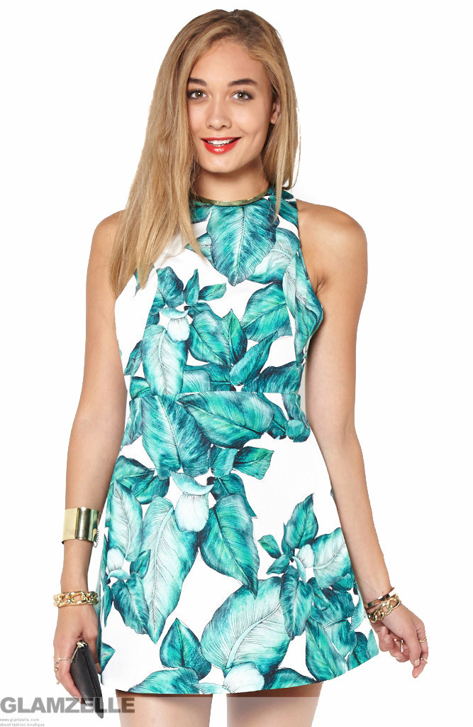 "Chic ""warm thought"" leaf print skater dress – glamzelle"