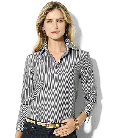 Lauren by Ralph Lauren Shirt, Priya Striped Wrinkle Resistant - Tops - Women - Macy's