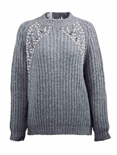 ERMANNO ERMANNO SCERVINO jumper beaded grey sweater