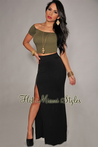 Black Zipper High Slit Maxi Skirt