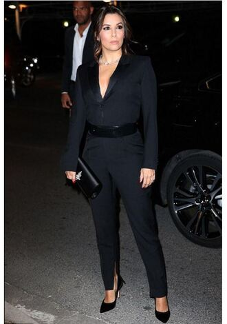 jumpsuit pants suit blazer all black everything eva longoria belt clutch cannes