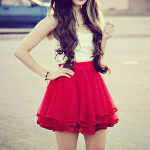 skirt red red skirt fluffy skater skirt dress red, beautiful, skirt or dress,