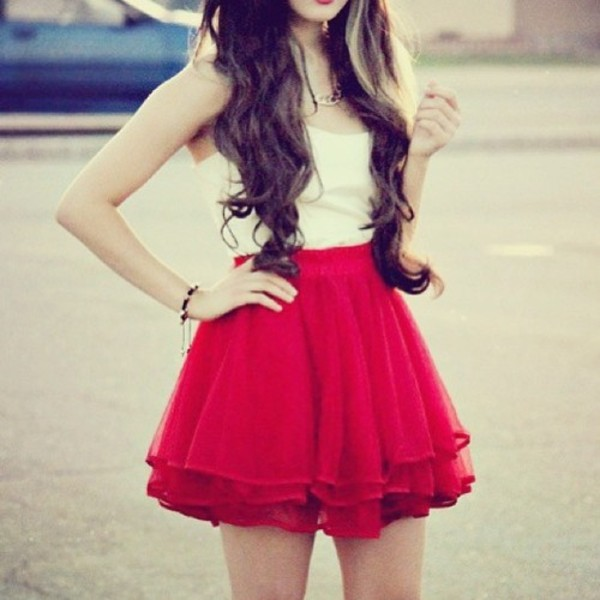 skirt skater skirt red skirt blouse spring skirt red dress skirt or dress fluffy chiffon ruffle high waisted red short skirt white girly girly outfits tumblr