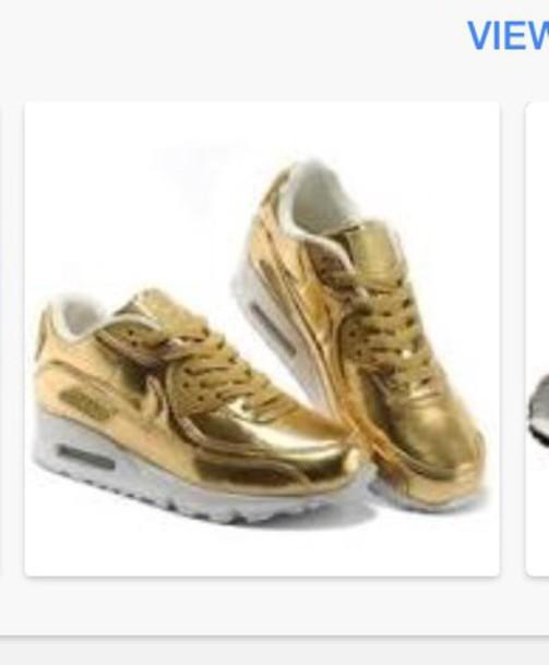 shoes, nike metalic gold, nike air
