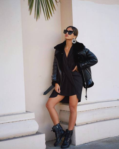 dress black sunglasses tumblr mini dress black dress asymmetrical asymmetrical dress jacket black jacket black leather jacket leather jacket boots black boots biker boots sunglasses earrings silver earrings