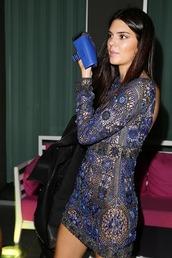 dress,kendall jenner,fashion week 2014,blue,long sleeve dress,backless,bag