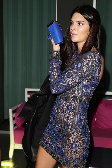 dress backless kendall jenner fashion week 2014 blue long sleeve dress bag
