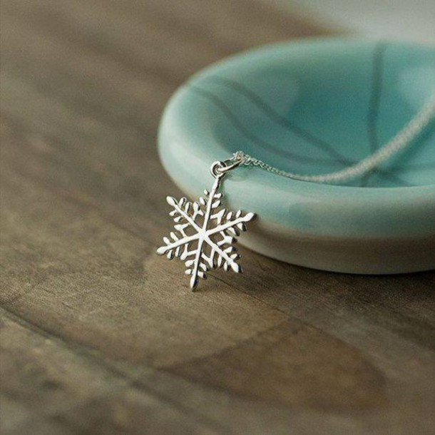 jewels necklace snow snowflake holiday season silver necklace frozen