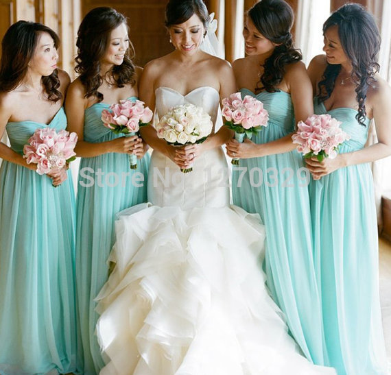 Aliexpress.com : Buy Elegant A Line Long Bridesmaid Dresses Light Sky Blue Sweetheart Chiffon Wedding Events Prom Special Occasion Floor Length from Reliable dress up prom night suppliers on Dream Girl Wedding
