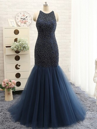 dress prom tulle dress navy homecoming dress gown formal dressofgirl