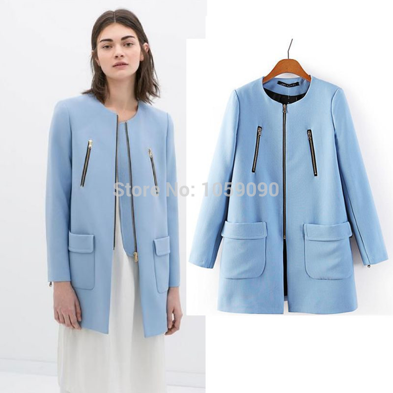 Aliexpress.com : Buy 2014 New Autumn Winter ZA Light Blue wool coat Long Women Fashion A line Zipper Details Twill Two Big Pockets casacos femininos from Reliable fashion runway suppliers on Vogue Official Online Shop