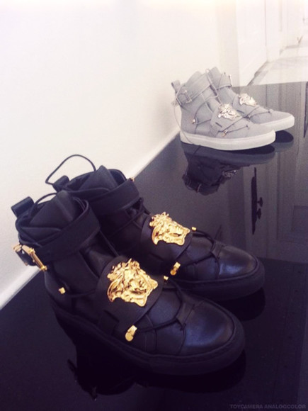 shoes high top sneaker sneakers hightops versace high top sneakers