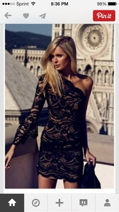 dress,lace dress,one shoulder,black