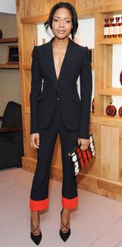 pants,jacket,naomie harris,suit