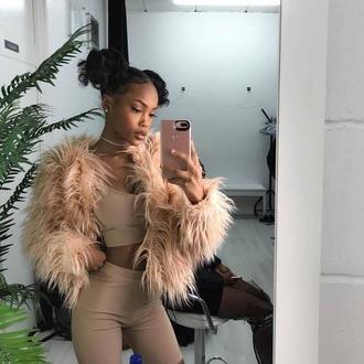 coat tan beige fur coat