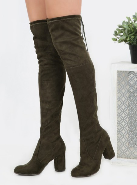 2a896af9c07b shoes girl girly girly wishlist boots over the knee olive green suede suede  boots high heels