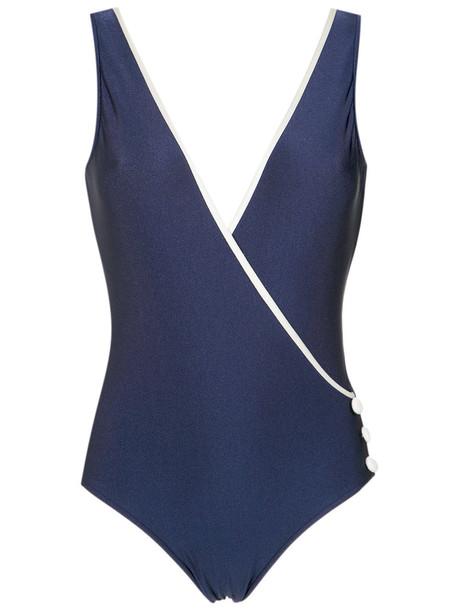 Adriana Degreas style women spandex blue swimwear