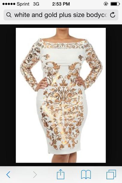 dress white gold bodycon dress