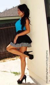 dress,blue dress,black skirt,checkered skirt,pleated skirt,multi colored dress