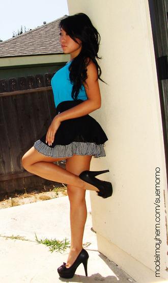 dress blue dress black skirt checkered skirt pleated skirt multi colored dress