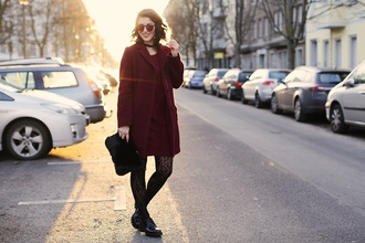 samieze blogger dress coat sunglasses bag shoes red coat furry bag winter outfits red dress