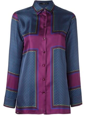shirt printed shirt women silk purple pink top