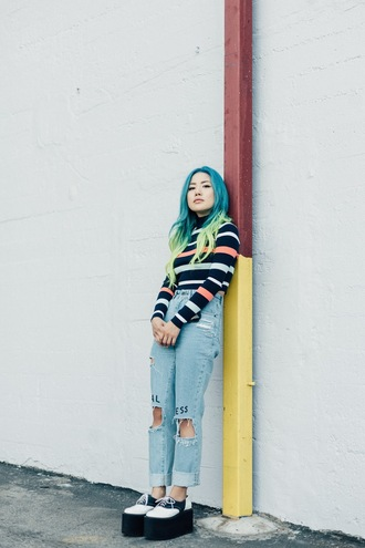 feral creature blogger sweater jeans ripped jeans platform shoes hipster grunge shoes hair dye green hair ombre hair blue hair striped sweater 90s style striped turtleneck sweater