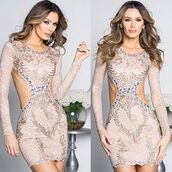 dress,holt miami,nude dress,lace dress,nude dress with gold,gold dress,party dress,birthday dress,dress with crystals,crystal dress,painted dress,holt
